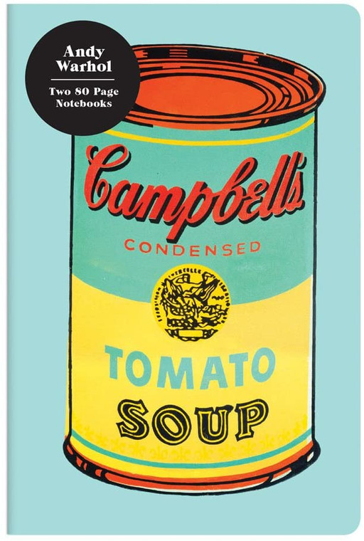 image of the cover of notebook with teal and yellow Cambell's soup can.