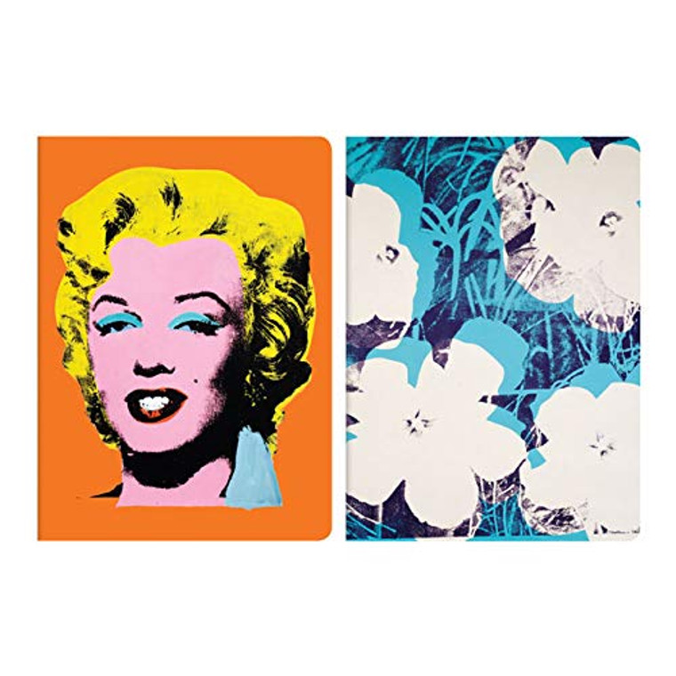 image of the 2 covers of the notebooks. One with Marilyn Monroe on an orange background and the other of white flowers on teal background