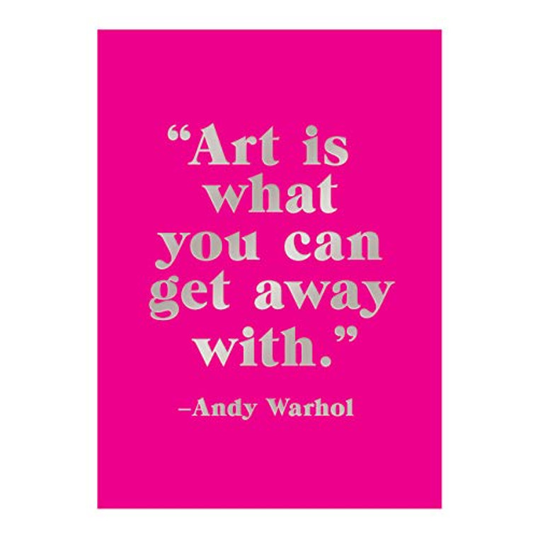 """image of cover in magenta with quote """"Art is what you can get away with""""."""