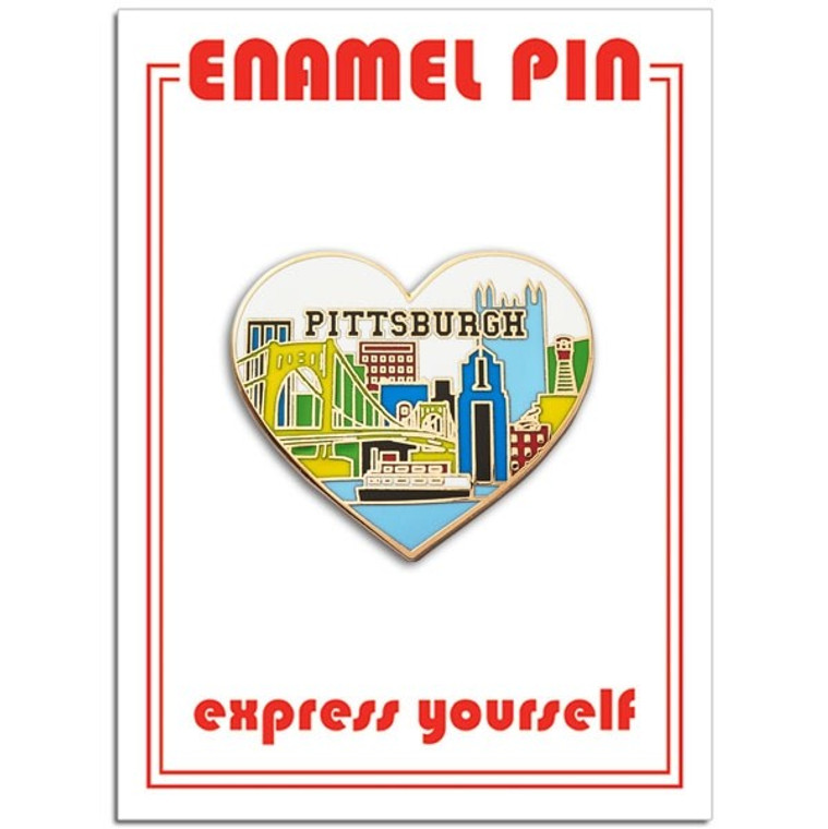 image of heart shaped enamel pin with a pittsburgh skyline placed on a white card with red font.