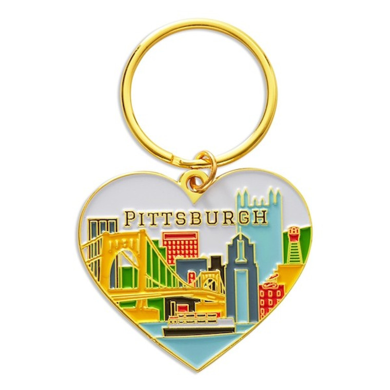 image of heart shaped enamel flat keychain with a gold ring.