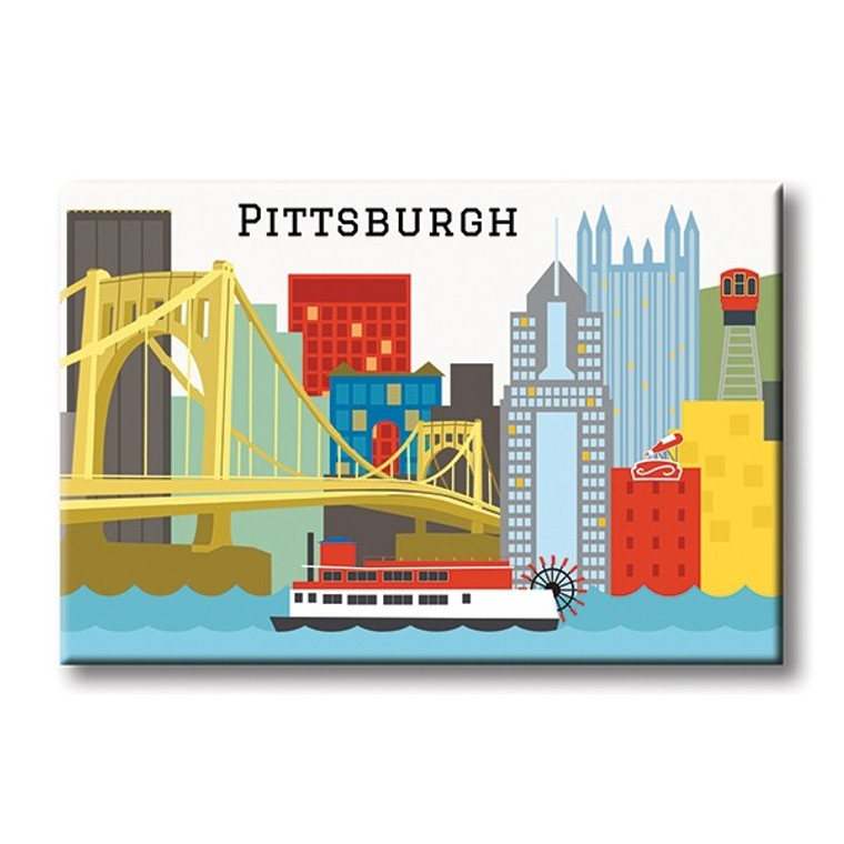 image of a flat rectangular magnet with a printed image of the Pittsburgh skyline.