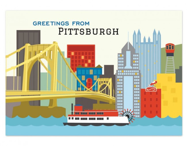 image of postcard imprinted with a colorful Pittsburgh skyline of various buildings, a yellow bridge and a boat.