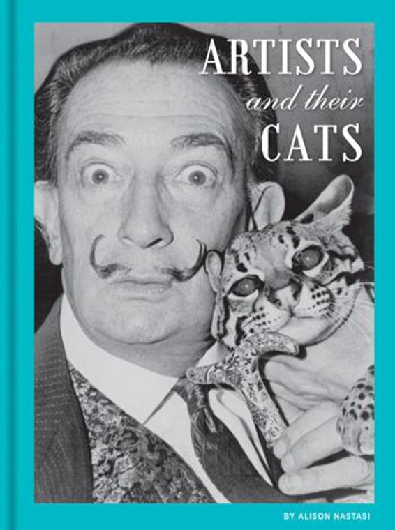 image of cover of the book with a black and white photo artist Dali, a man with a long mustache holding his cat.