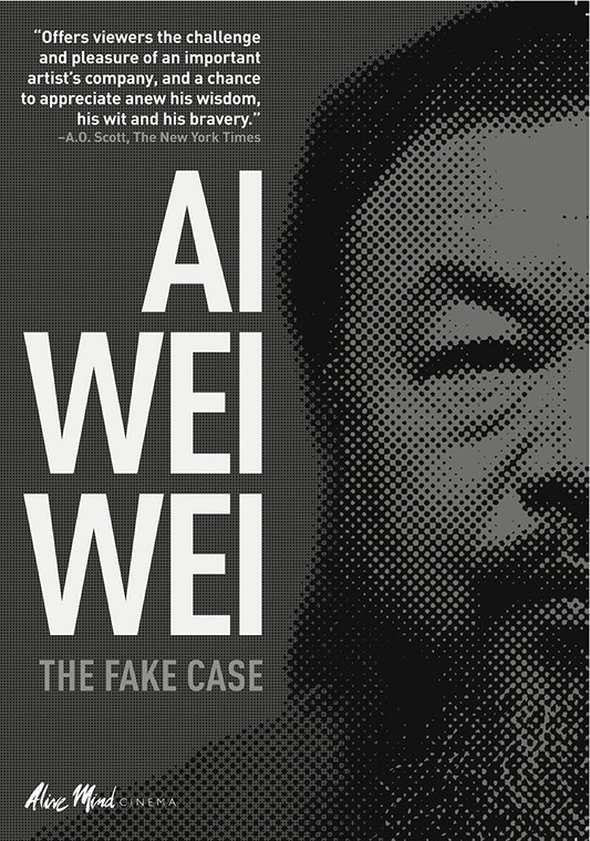 image of dvd cover with title in a white font Ai Weiwei and a black and white image of a man's face.