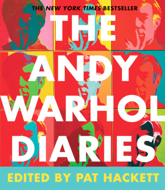 image cover of a book, title of book is in large white font on a colorful background of 9 images of Andy Warhol's face.