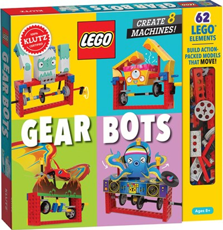 This images shows a book that says Lego Gear Bots with a clear window exposing some of the lego bricks.