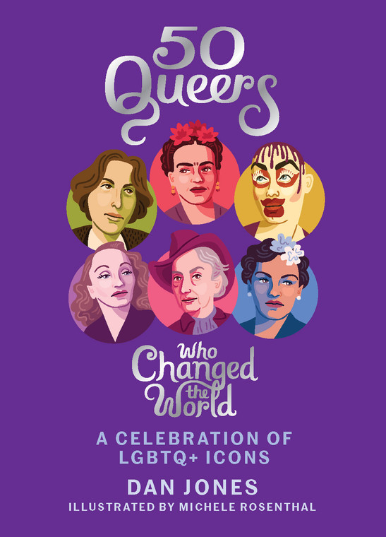 mage of a purple book cover with six illustrated images of famous people , three across and two rows.