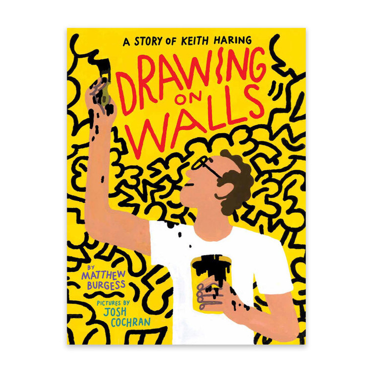 image of a yellow book cover with book title in a red hand written font. There is an illustrated image of a man, wearing glasses in a white shirt, holding a paintbrush with black paint.
