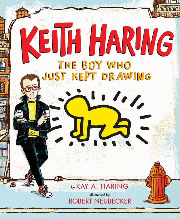 image of a book cover with title in red and an illustrated image of a boy in black pants, white shirt and black jacket standing against a wall. There is a yellow drawing of a figure in the middle of the cover.