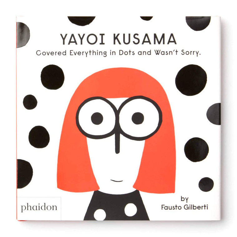 image of a book cover, white background with black dots and an illustrated image of a figure with red hair and big eyes.