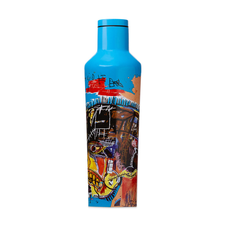 Image of a metal water bottle, printed in blue with the work of Basquiat on the front, an untitled work with a skull on it.