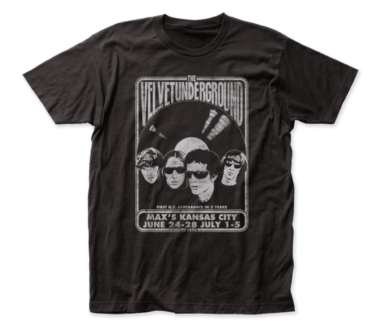 """A black t-shirt with a band photo and text """"Velvet Underground at Max's Kansas City"""""""