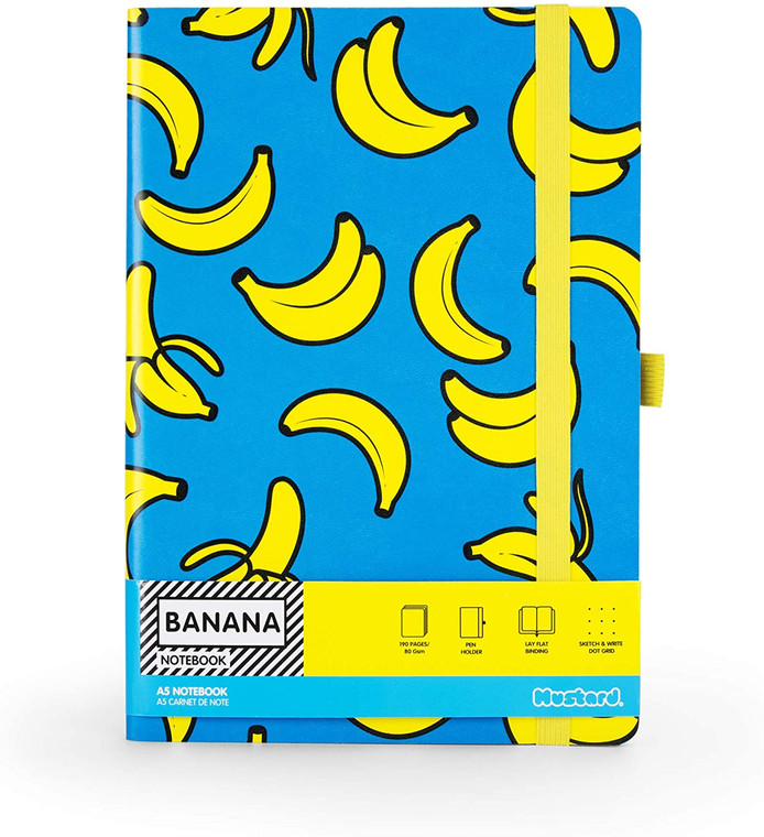 image of notebook cover with yellow bananas on a cyan background, with package detail black text on yellow.