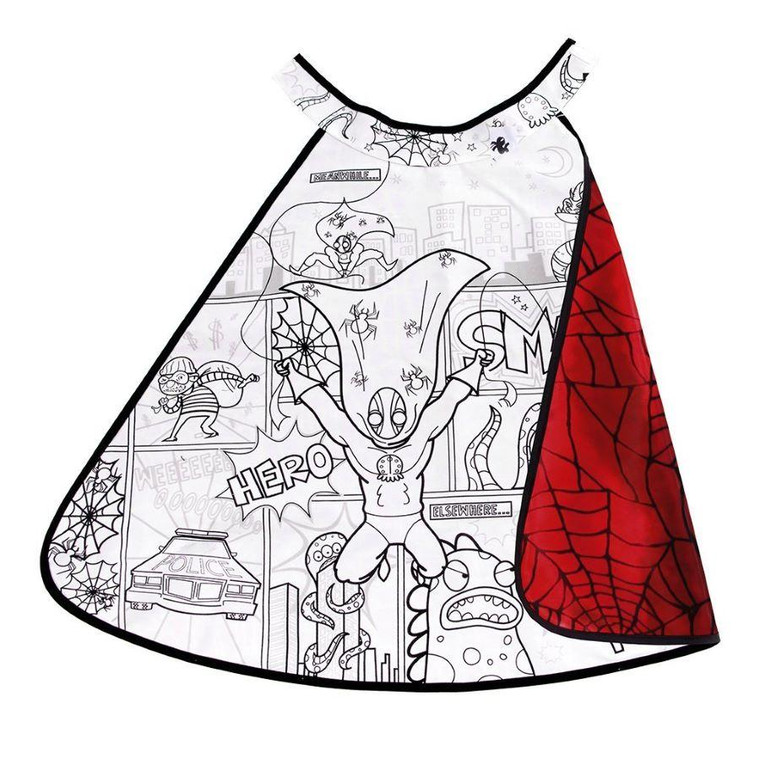 This cool super hero spider cape with comic book scene is fully reversible - lined with a red satin spider print pattern to the other side.