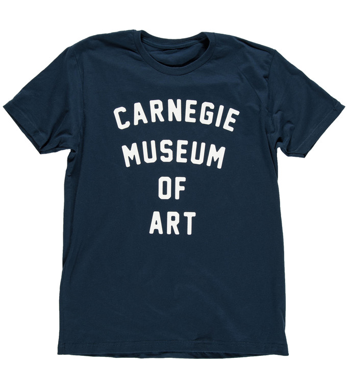 Carnegie Museum of Art branded Adult tee in Blue with white text.