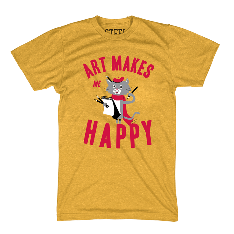 "Art Cat Adult Tee in Yellow with ""Art Makes Me Happy"" in red text."