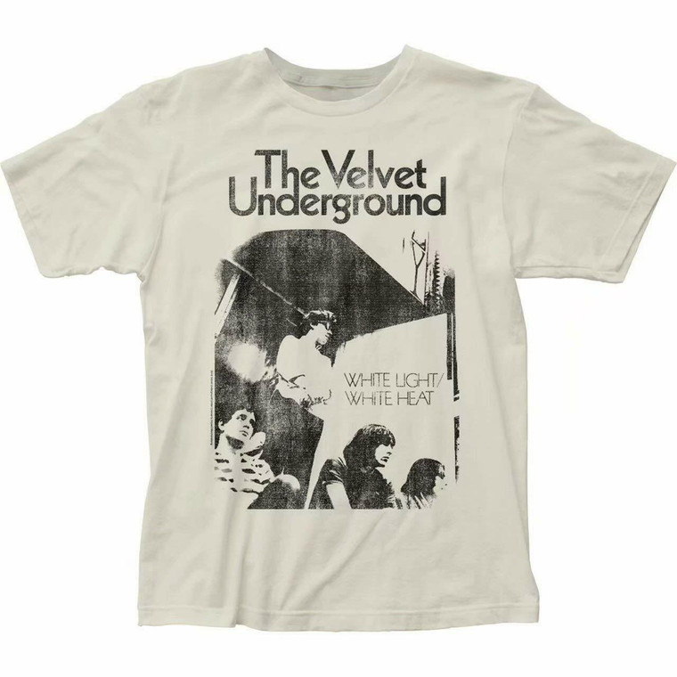 image of a white tee with a black and white image of four band members.