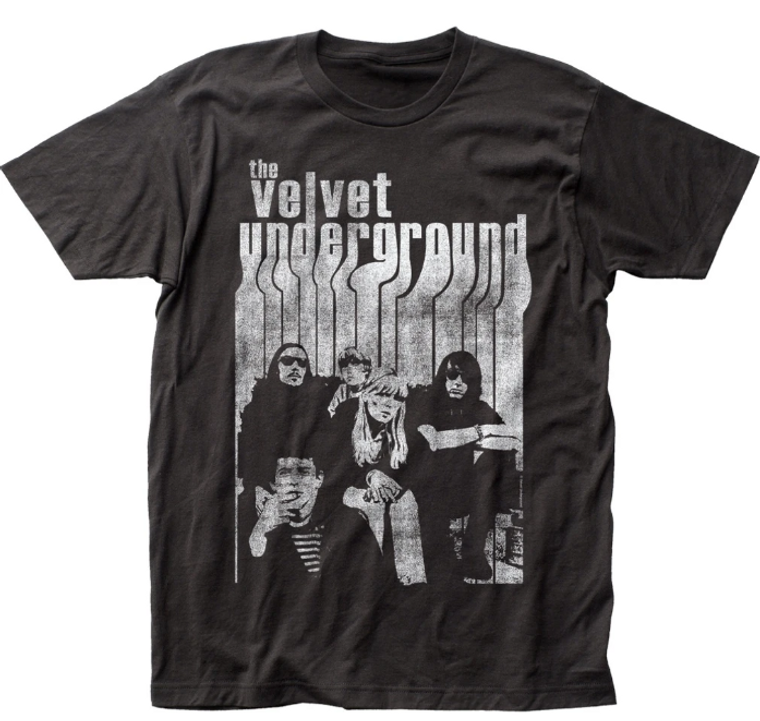 image of a black tee with a black and white photo of the band.