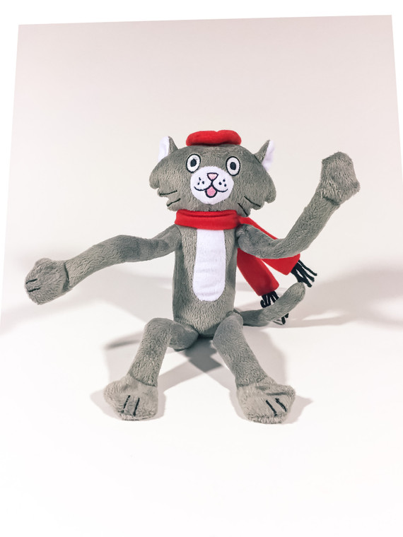 This Art Cat plush features an attached red scarf and beret with magnetic hands and feet.