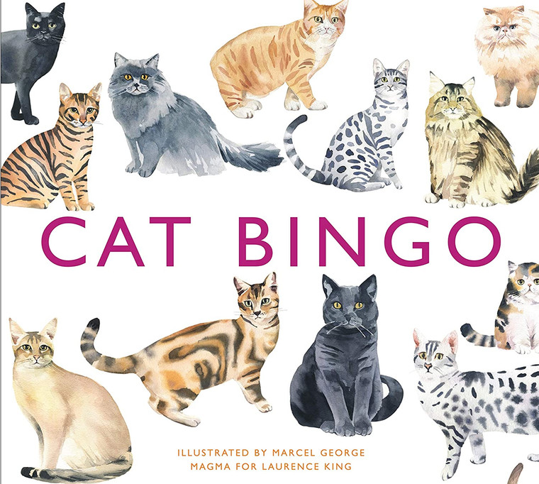 An image of the cover of a white box with almost a dozen cats, many different breeds on it. The name of the game, Cat Bingo is on the cover of the box as well, in pink.