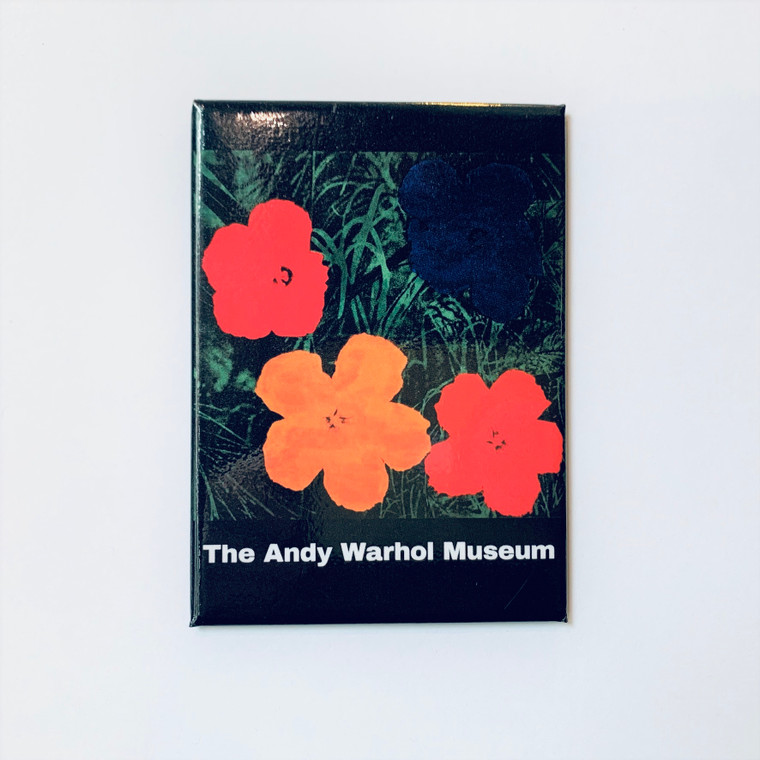 Image of a rectangular magnet with a Warhol print of 4 flowers and some greenery with a black background.