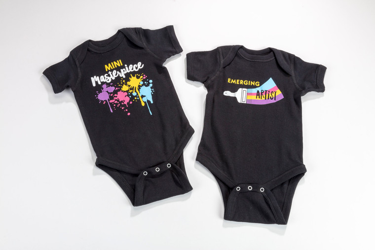 Mini masterpiece and Emerging Artist Onesies in sizes 0-6 Months, 6-12 Months, 12-18 Months