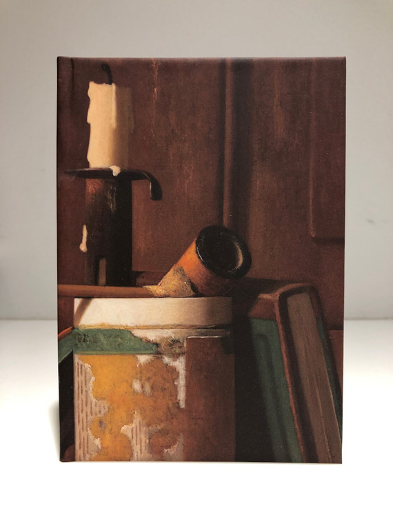 Front; Still Life 100 Page Lined Notebook featuring John F. Peto's Candlestick, Pipe and Tobacco Box.