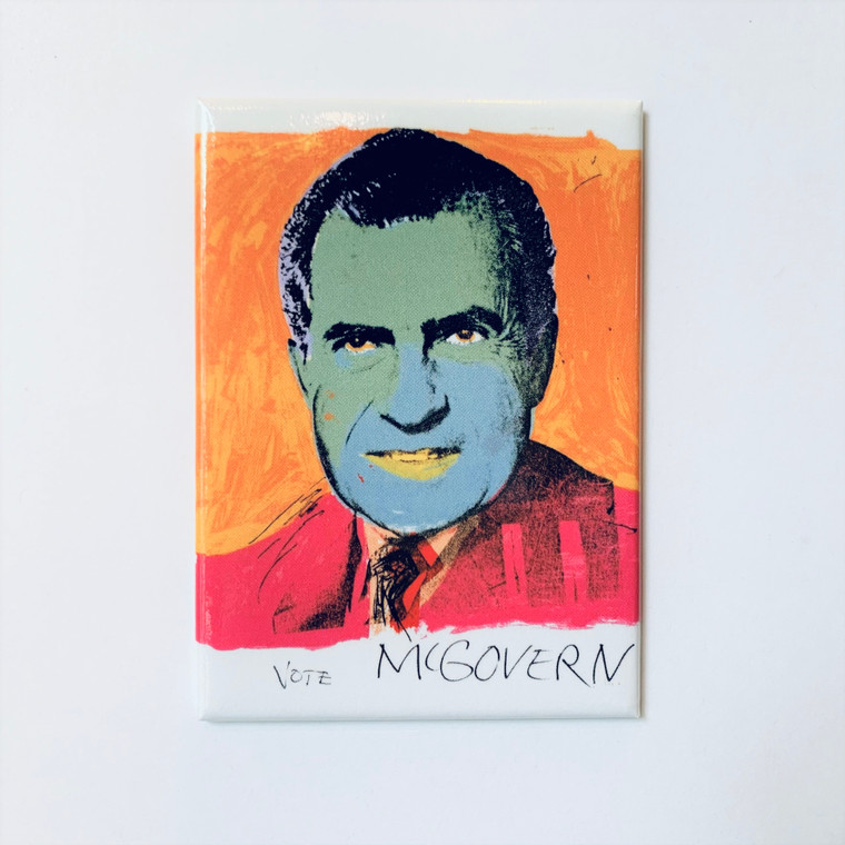 Image of a rectangular magnet with an orange and white background featuring Richard Nixon with a green face and a pink jacket. The words Vote McGovern are scribbled in black at the bottom of the magnet.