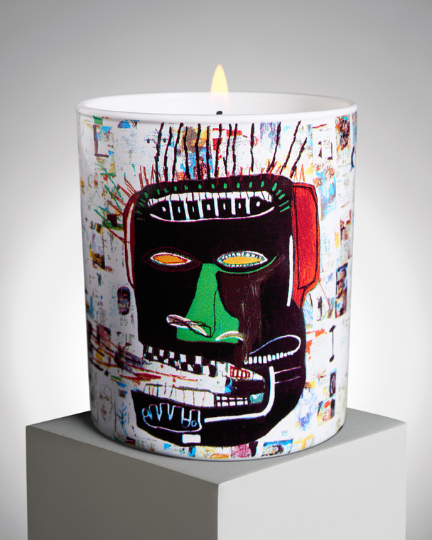 """Image of a candle printed with Jean-Michel Basquiat's """"Glenn"""""""