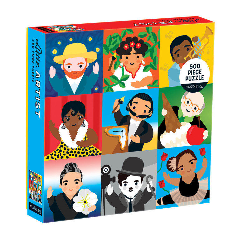 The Little Artist 500 Piece Jigsaw Puzzle is comprised of colorful illustrated portraits of inspiring artists who have made a historical impact with sculpture, music, performance, or painting.