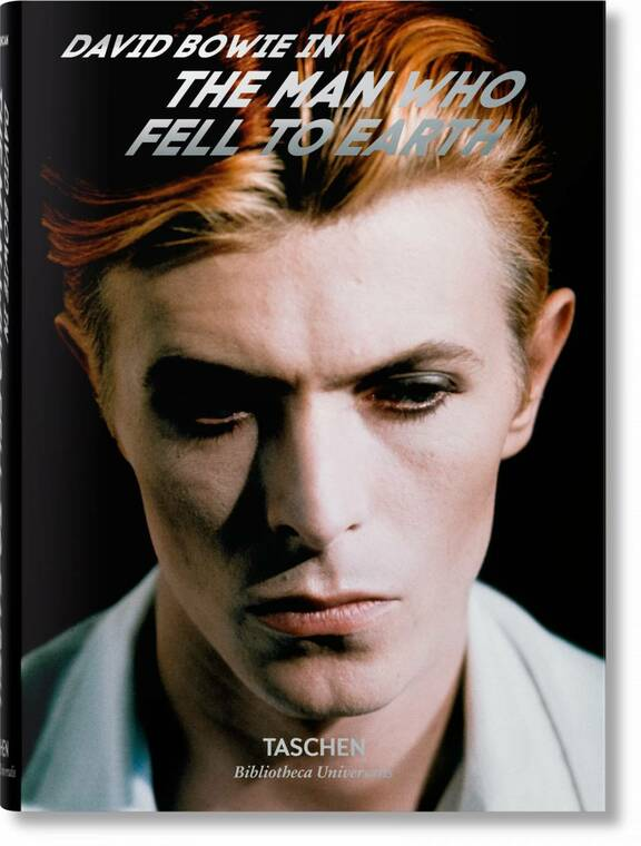 Image of the cover of a book with David Bowies face on it that reads David Bowie. The Man Who Fell to Earth in silver text.