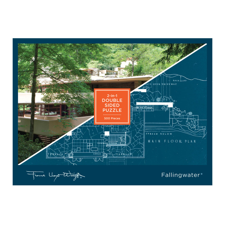 This double-sided, 500 piece puzzle features Frank Lloyd Wright's famous Falling Water House. A beautiful picture of the home's exterior on one side and an aerial blueprint of the grounds on the other make for double the puzzling! One side is matte and the other is glossy for easy sorting.
