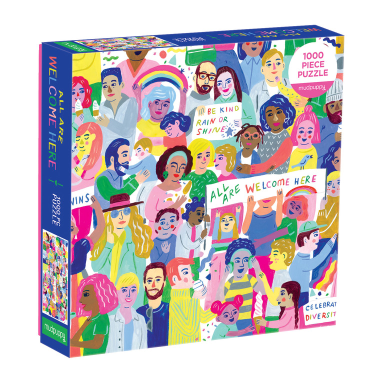 Piece together All Are Welcome Here! 1000 Piece Family Puzzle to reveal a colorfully illustrated collage showcasing human diversity and acts of kindness.