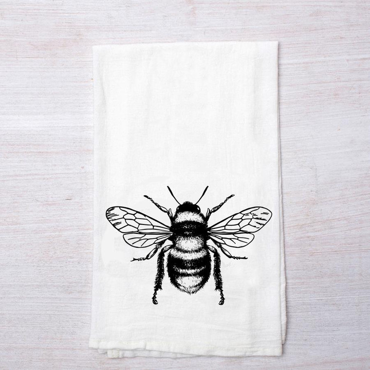 """White towel measures approx. 28"""" x 29"""" bee imprint in black on middle-bottom-third of towel (image size approx. 6"""" x 4"""")"""