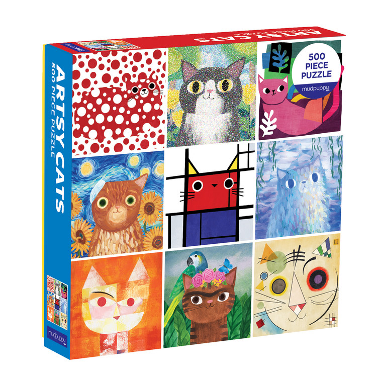 Piece together Artsy Cats 500 Piece Puzzle to reveal feline portraits inspired by the world's greatest modern art meowsters! This amusing illustration is a great family activity for adults and children to enjoy together. Puzzle pieces come packaged in a sturdy and easy-to-wrap box, perfect for gifting, reuse, and storage.
