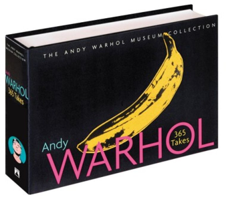 View of the book cover, black with a yellow banana and the name Andy Warhol 365 Takes