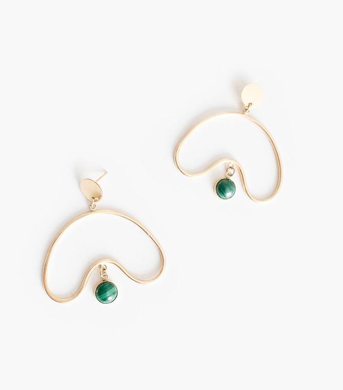 cul de sac earrings with malachite
