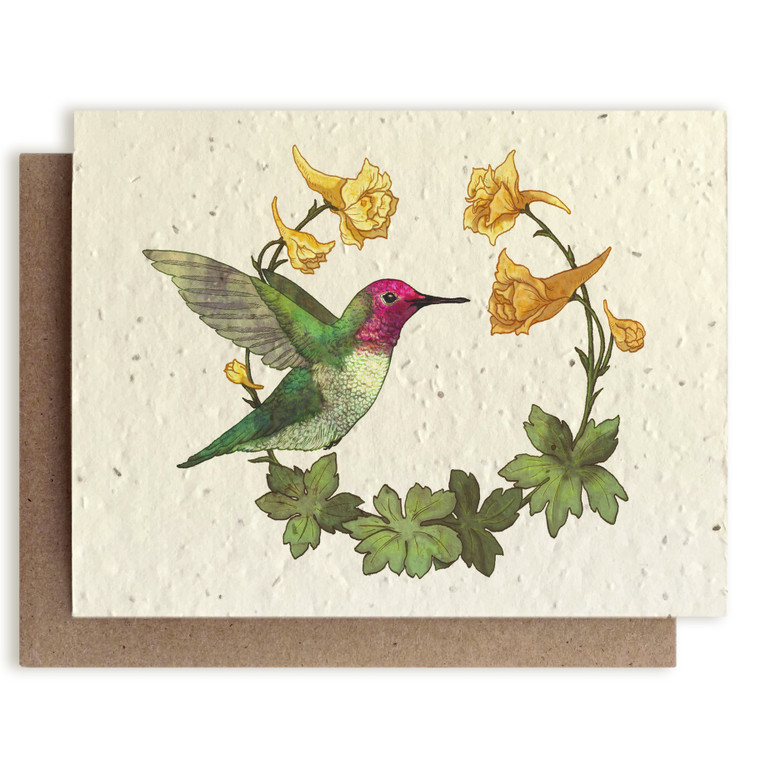 Natural card with painted hummingbird with kraft envelope.