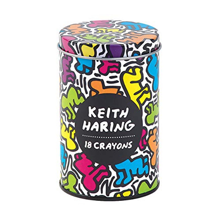 """Image of a cylindrical can with a removable and replaceable top with a colorful, iconic image of Keith Haring's work and a black round sticker that reads """"Keith Haring, 18 crayons."""""""