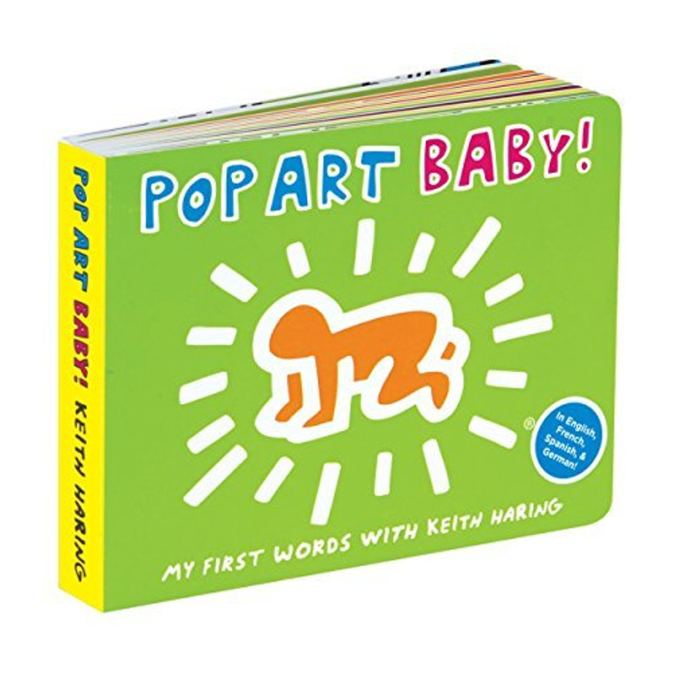"""Image of a lime green board book with a yellow spine that reads """"POP ART BABY!"""" with Keith Haring's signature baby figure in orange below."""