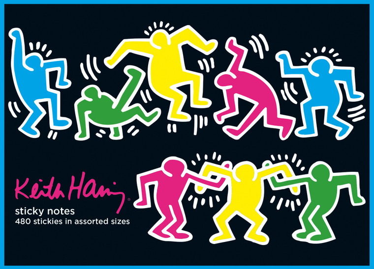 Image of the cover of a book of sticky notes with Keith Haring's signature dancing figures in multiple colors on a black background.