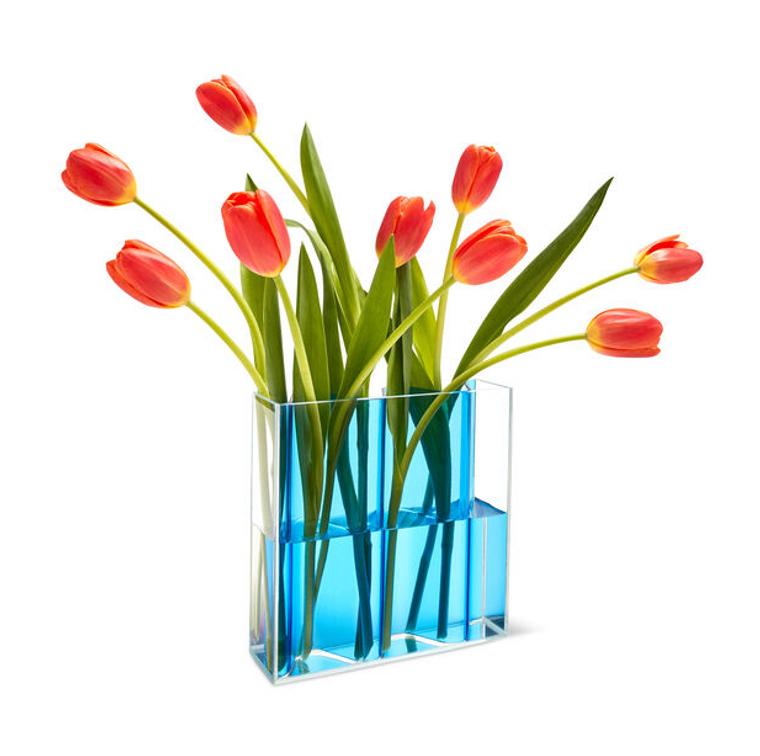 Blue Corrugated Vase