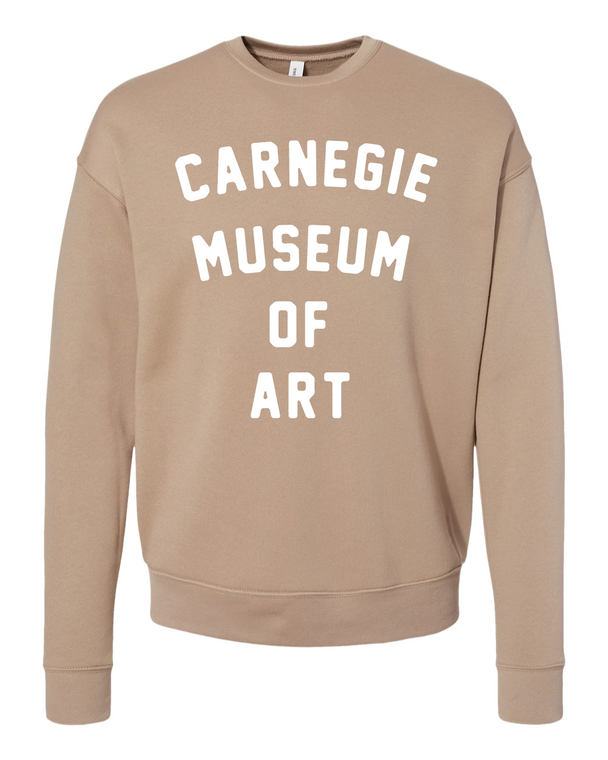 Adult CMOA Logo Crewneck Sweater available in Tan with White Lettering.