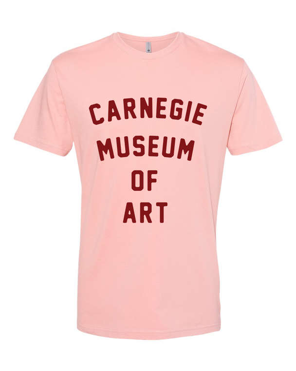 CMOA Logo'd Tee in Pink with Red Lettering