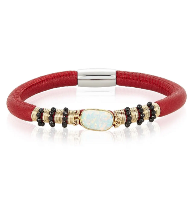Aroma Red Leather Bracelet with Opal and Spinel