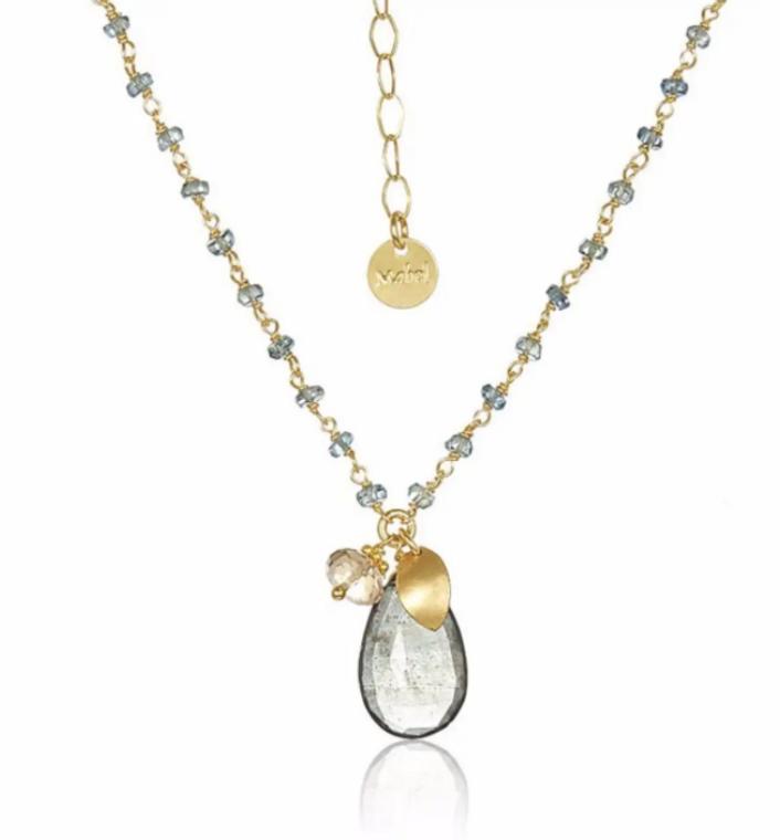 Sapphire with Moss Aqua Drop Necklace
