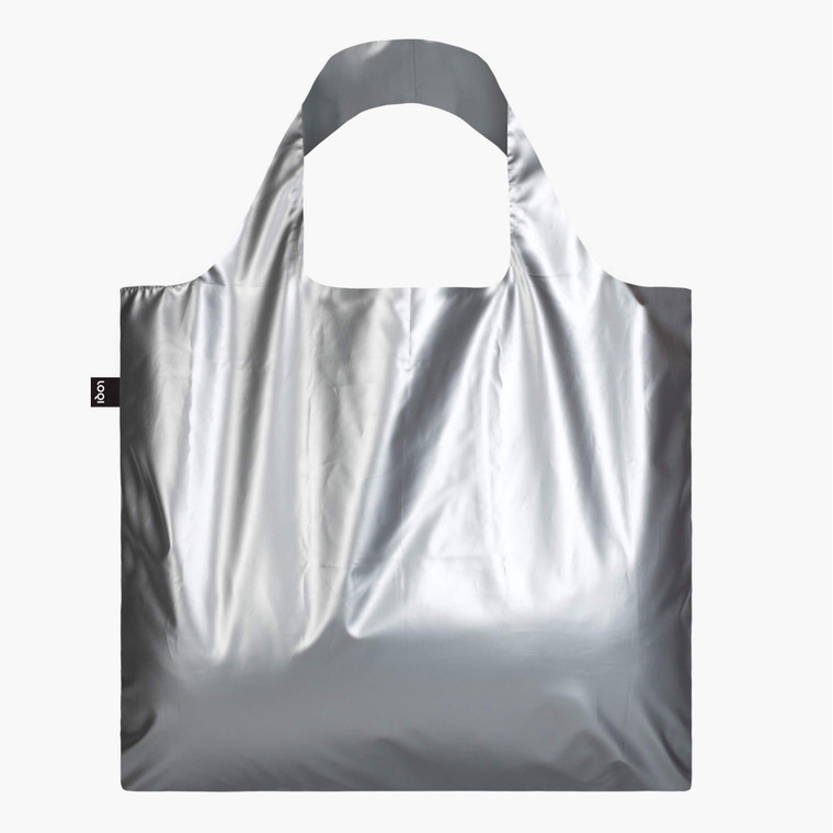 Image of a matte silver square grocery tote.