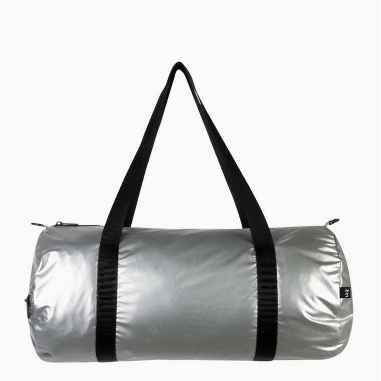 Image of a matte silver zippered duffle bag with black shoulder straps.