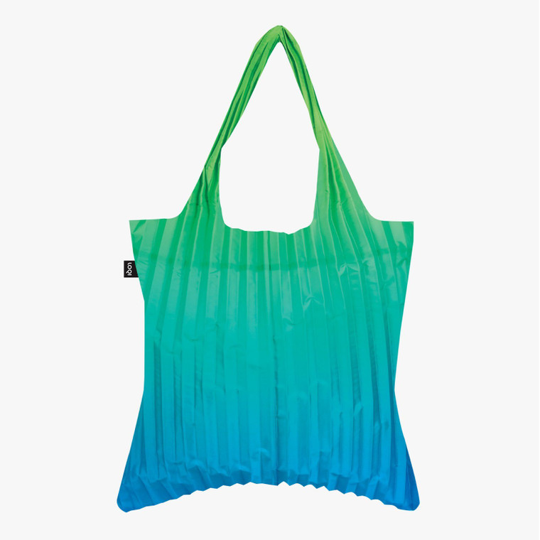 Image of a pleated ombre tote bag that fades from green to blue.
